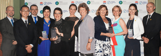 Health Minister Jillian Skinner and Cancer Institute NSW Premier's Awards for Outstanding Cancer Research winners, including Dr Glen Reid, far right.