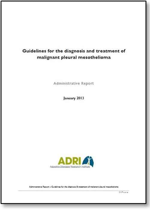 Guidelines for Diagnosis and Treatment of MPM - Administrative Report