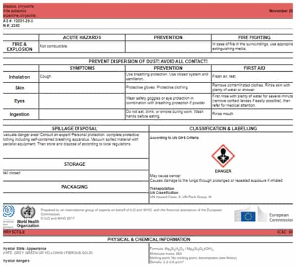 Chrysotile Card in the International Chemical Safety Cards
